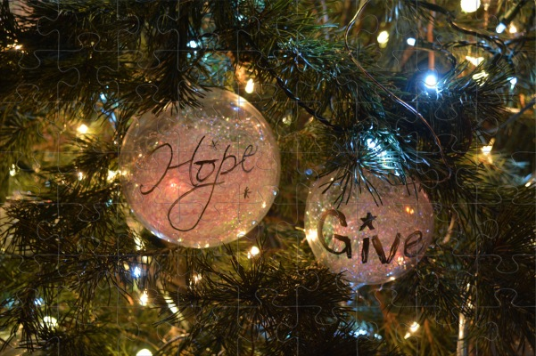 Hope and Give Christmas Ornament